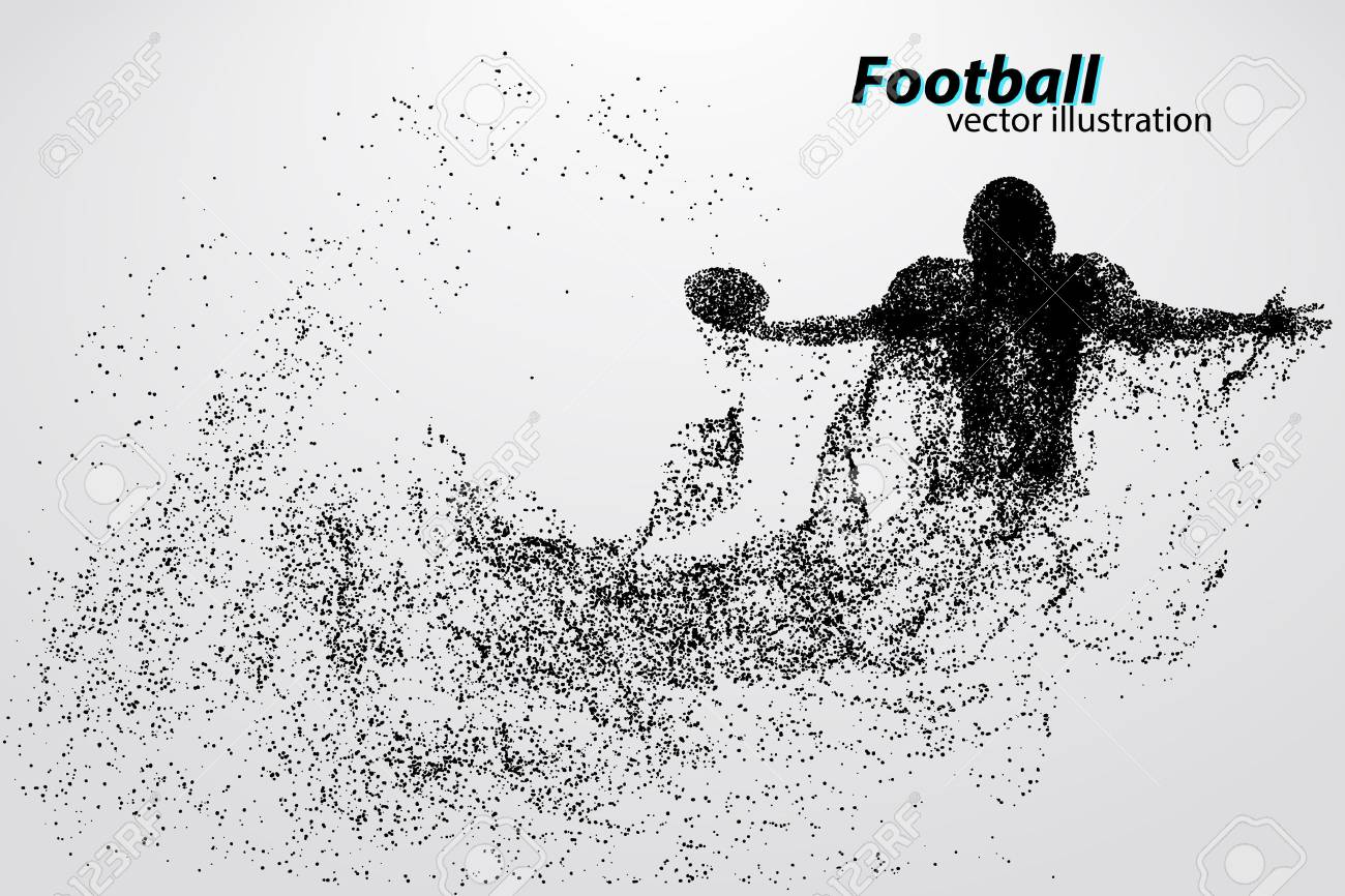 silhouette of a football player from particle. Background and text on a separate layer, color can be changed in one click. Rugby. American football - 67776454