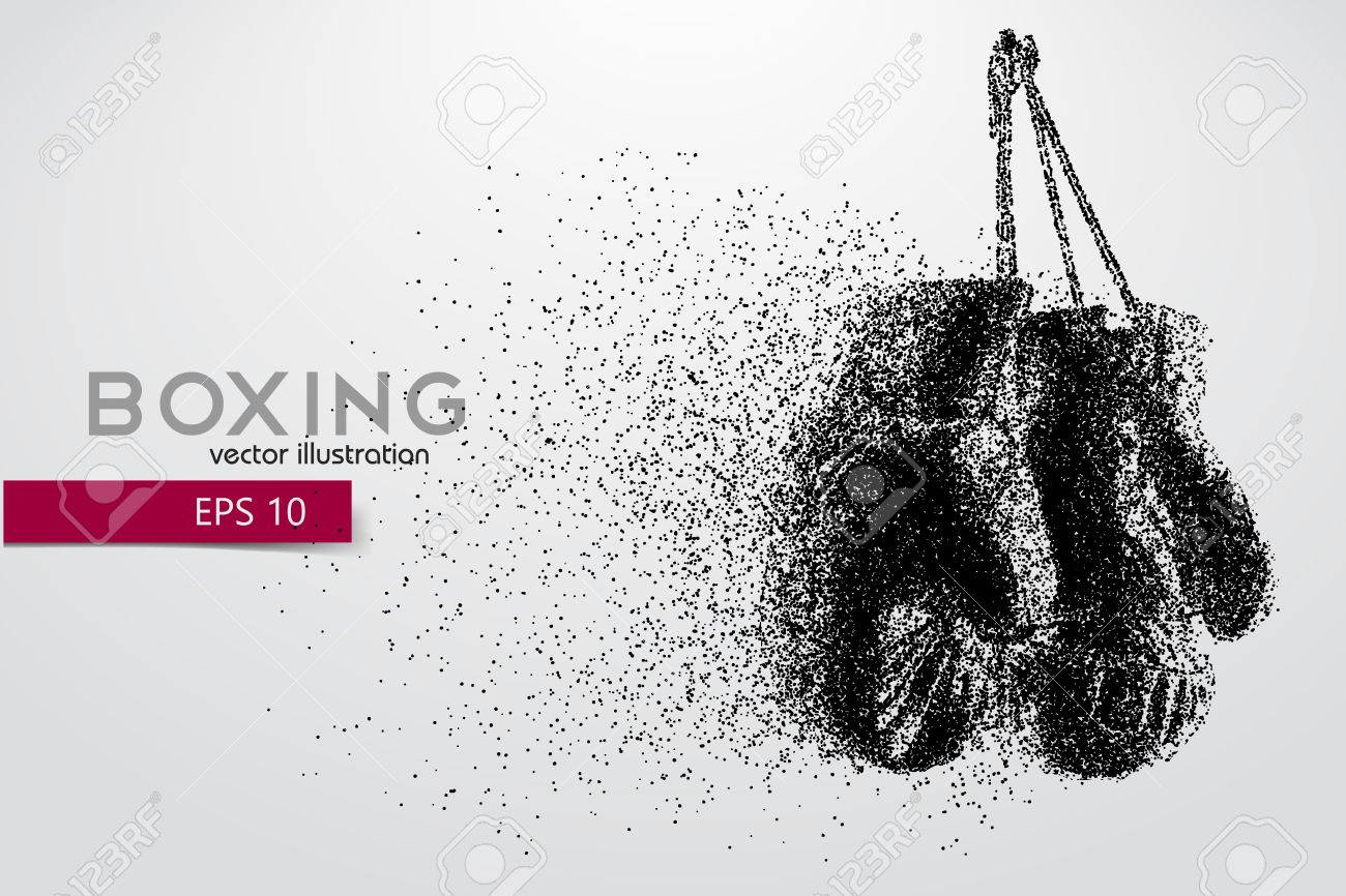 Boxing gloves from particles. Background and text on a separate layer, color can be changed in one click. Boxer. Boxing. Boxer silhouette - 69115175