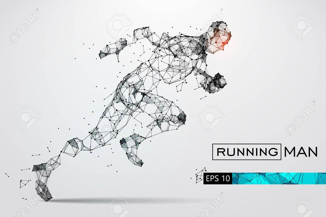Silhouette of a running man from particles. Vector illustration - 74794987
