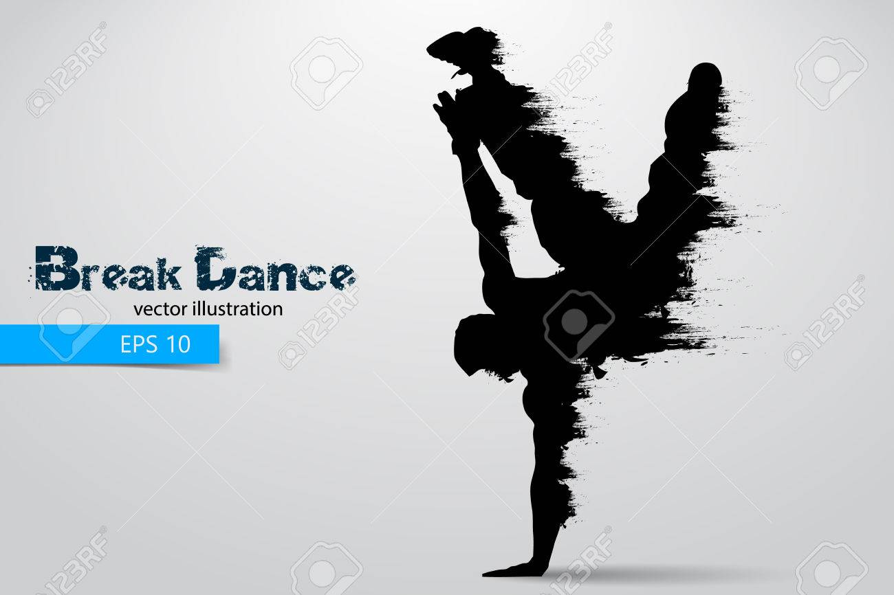 Silhouette of a break dancer from particles. Vector illustration - 77908969