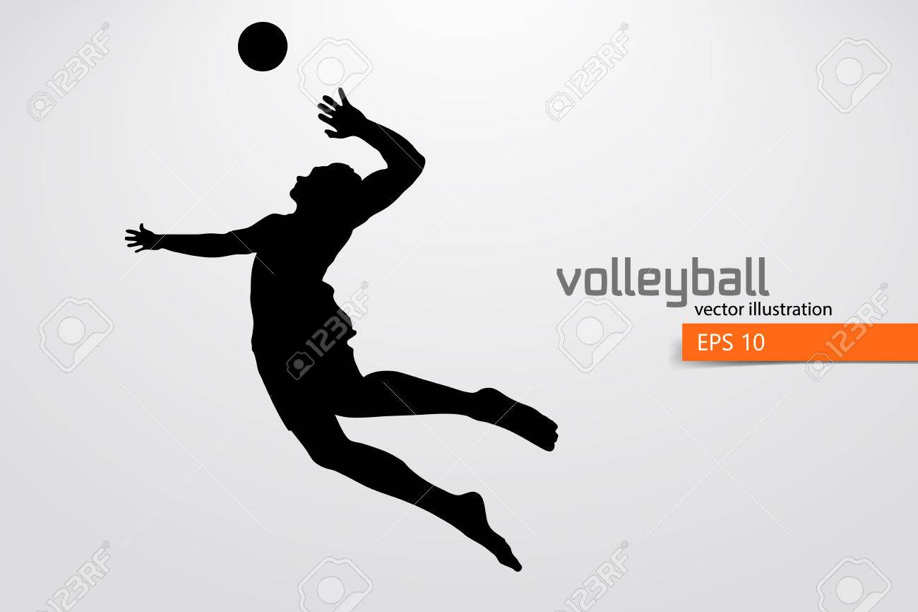 Silhouette of volleyball player. - 83553766