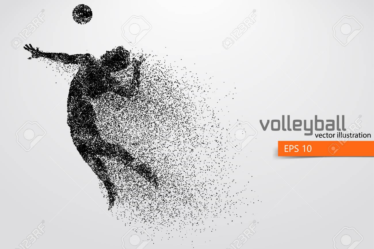 Silhouette of volleyball player. - 83553802