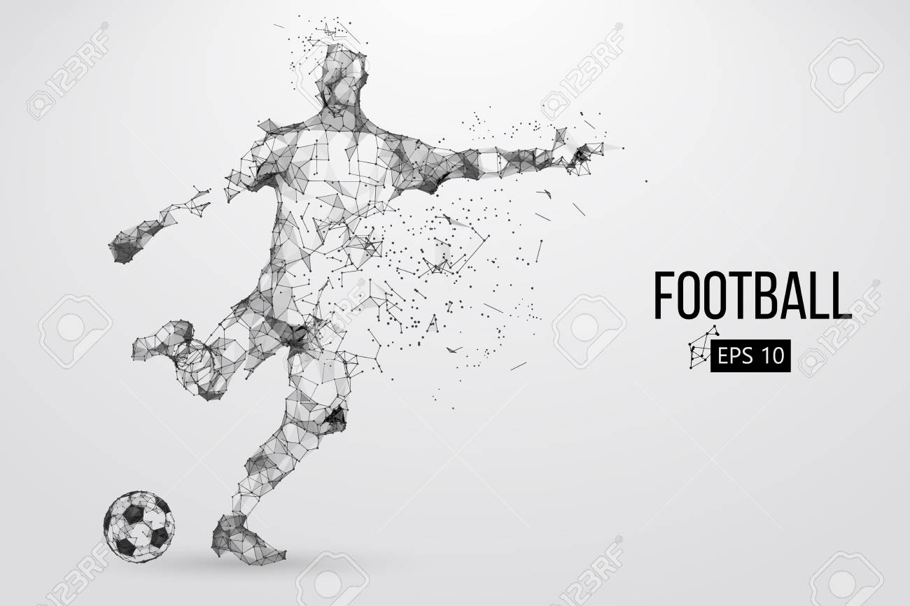 Silhouette of a football player from particles - 85810223