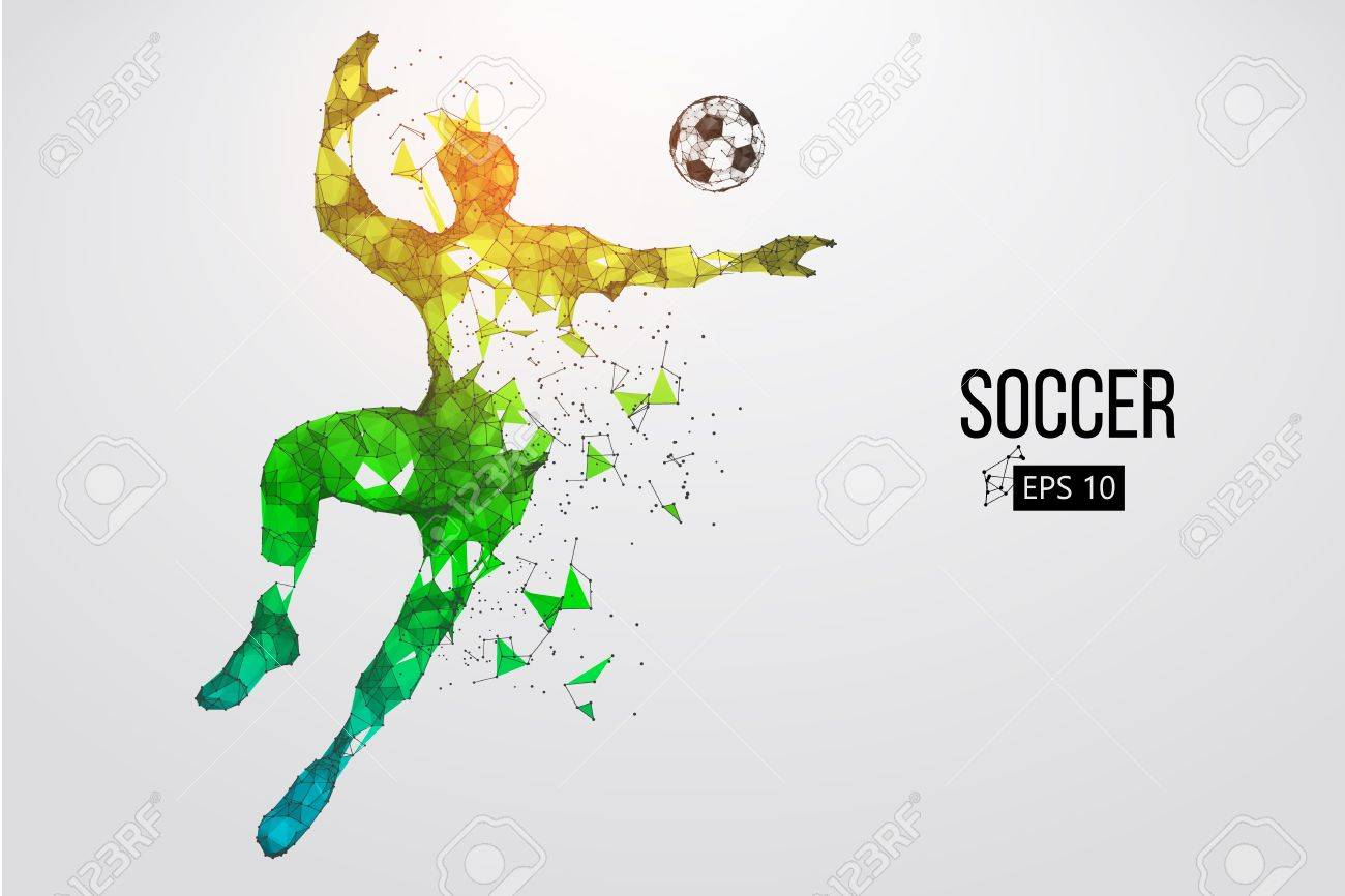 silhouette of a football player from particles. Vector illustration - 88543058