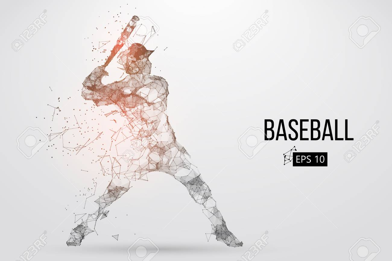 Silhouette of a baseball player. Dots, lines, triangles, text, color effects and background on a separate layers, color can be changed in one click. Vector illustration. - 90193409