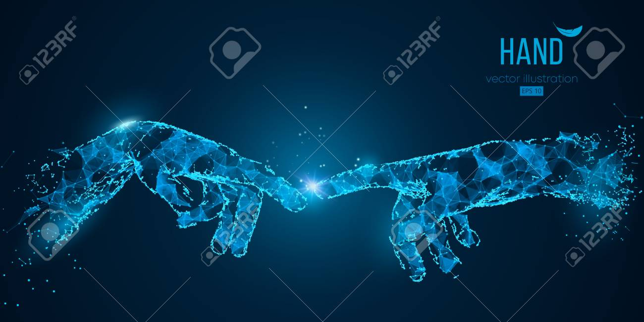 Abstract two hands touching moments from particles, lines and triangles on blue background. Technology. Elements on a separate layers color can be changed to any other in one click vector illustration - 114685122
