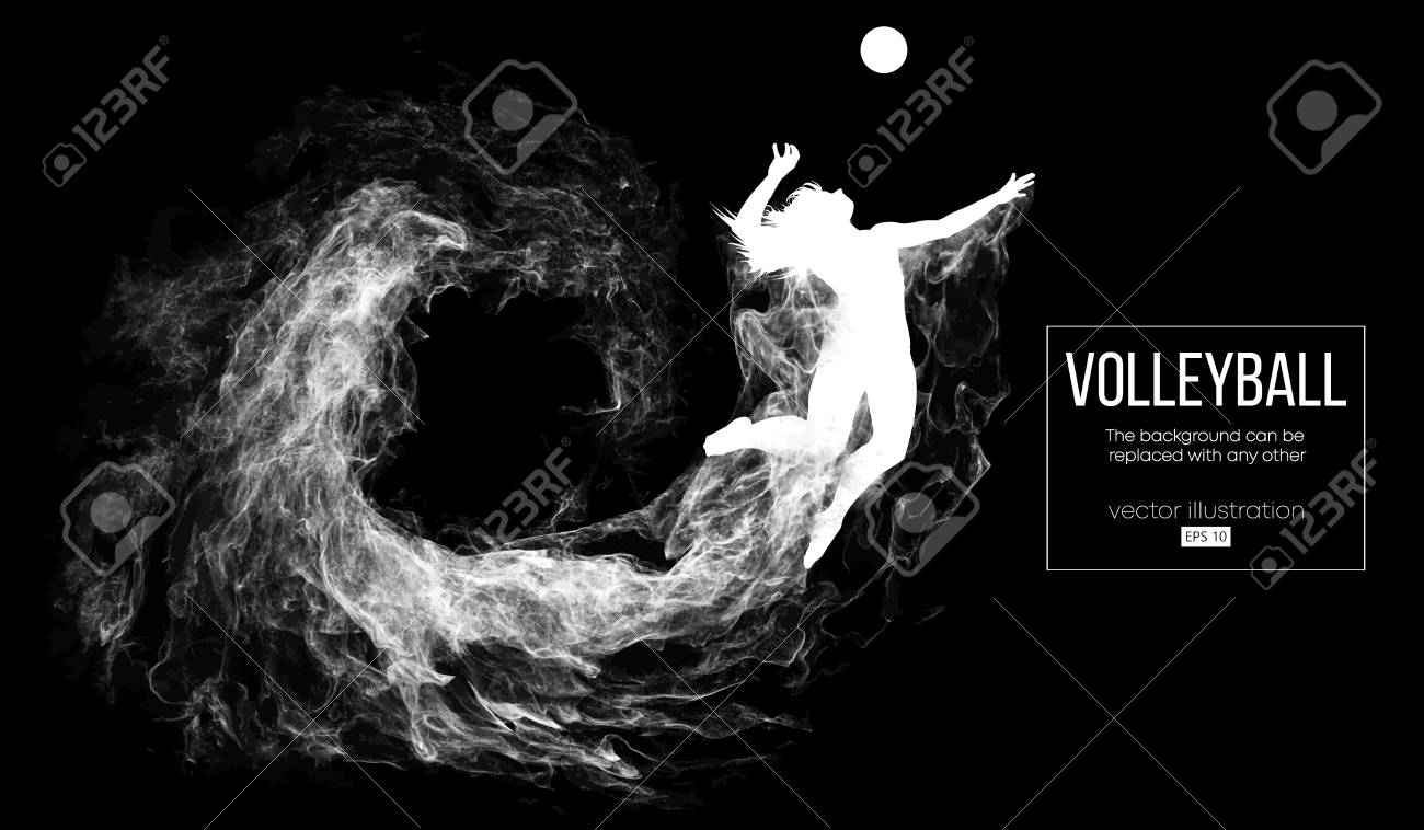 Abstract silhouette of a volleyball player woman on dark, black background from particles. Volleyball player is jumping and kicks the ball. Background can be changed to any other. Vector illustration - 118850759