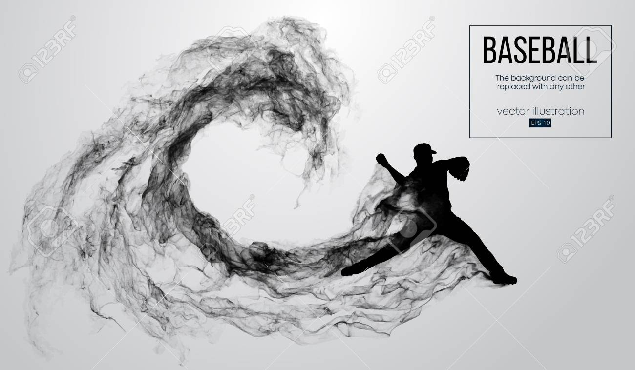 Abstract silhouette of a baseball player pitcher on white background from particles, smoke. Baseball player pitcher throws the ball . Background can be changed to any other. Vector illustration - 118850780