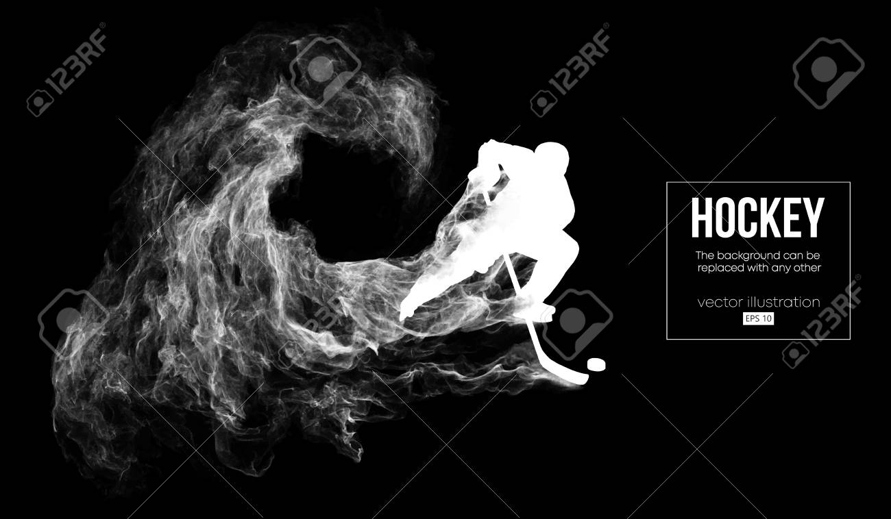 Abstract silhouette of a hockey player on dart, black background from particles, dust, smoke, steam. Hockey player hits the puck. Background can be changed to any other. Vector illustration - 125338995