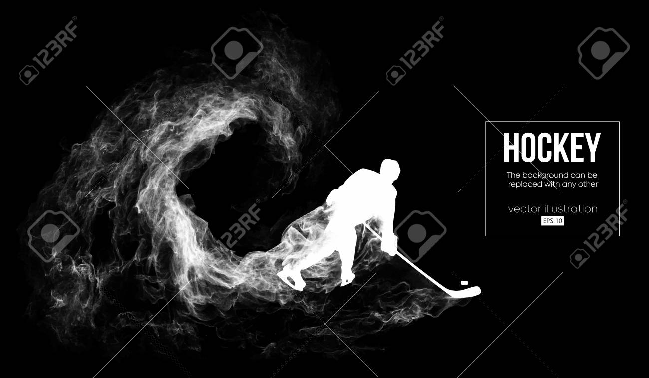Abstract silhouette of a hockey player on dart, black background from particles, dust, smoke, steam. Hockey player hits the puck. Background can be changed to any other. Vector illustration - 116586669