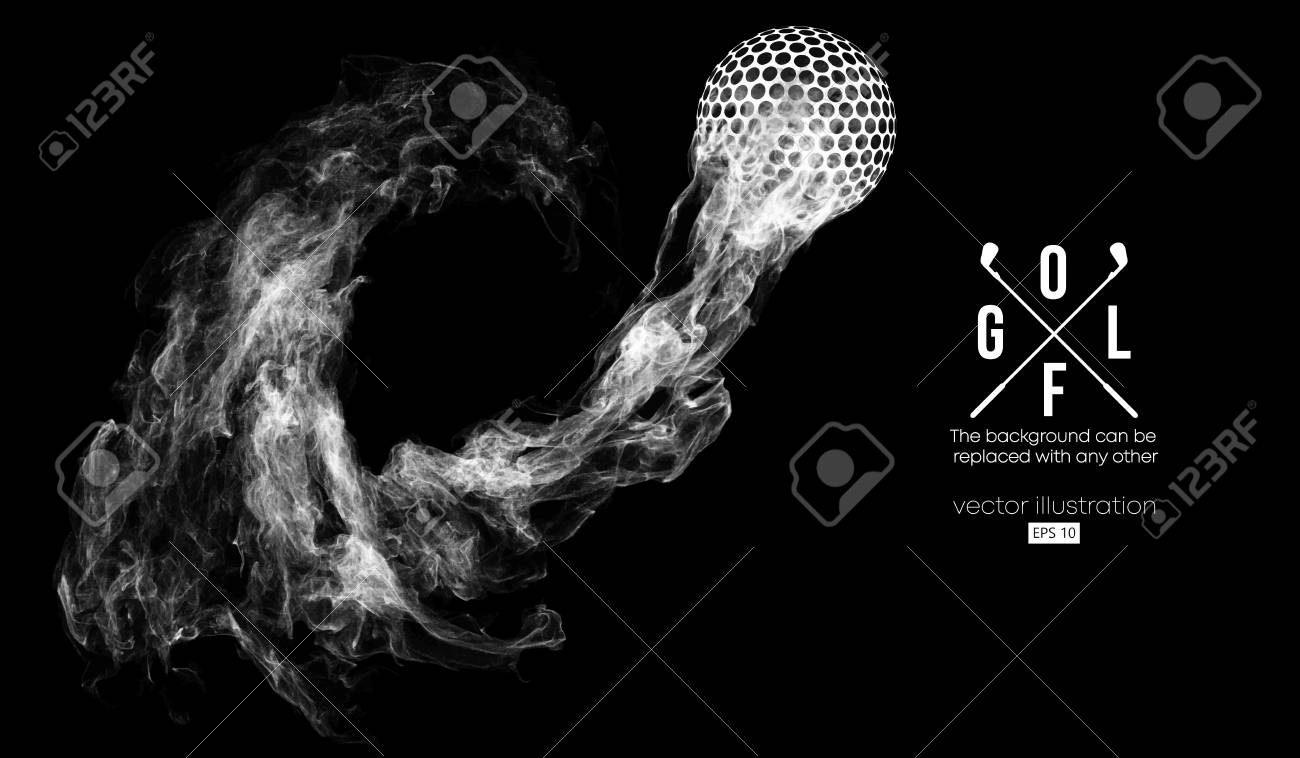 Abstract silhouette of a golf ball on the dark, black background from particles, dust, smoke, steam. Golf player, golfer. Background can be changed to any other. Vector illustration - 118850818
