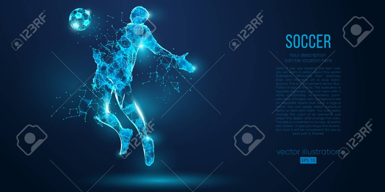 Abstract soccer player, footballer from particles on blue background. Low poly neon wireframe outline football player - 127741063