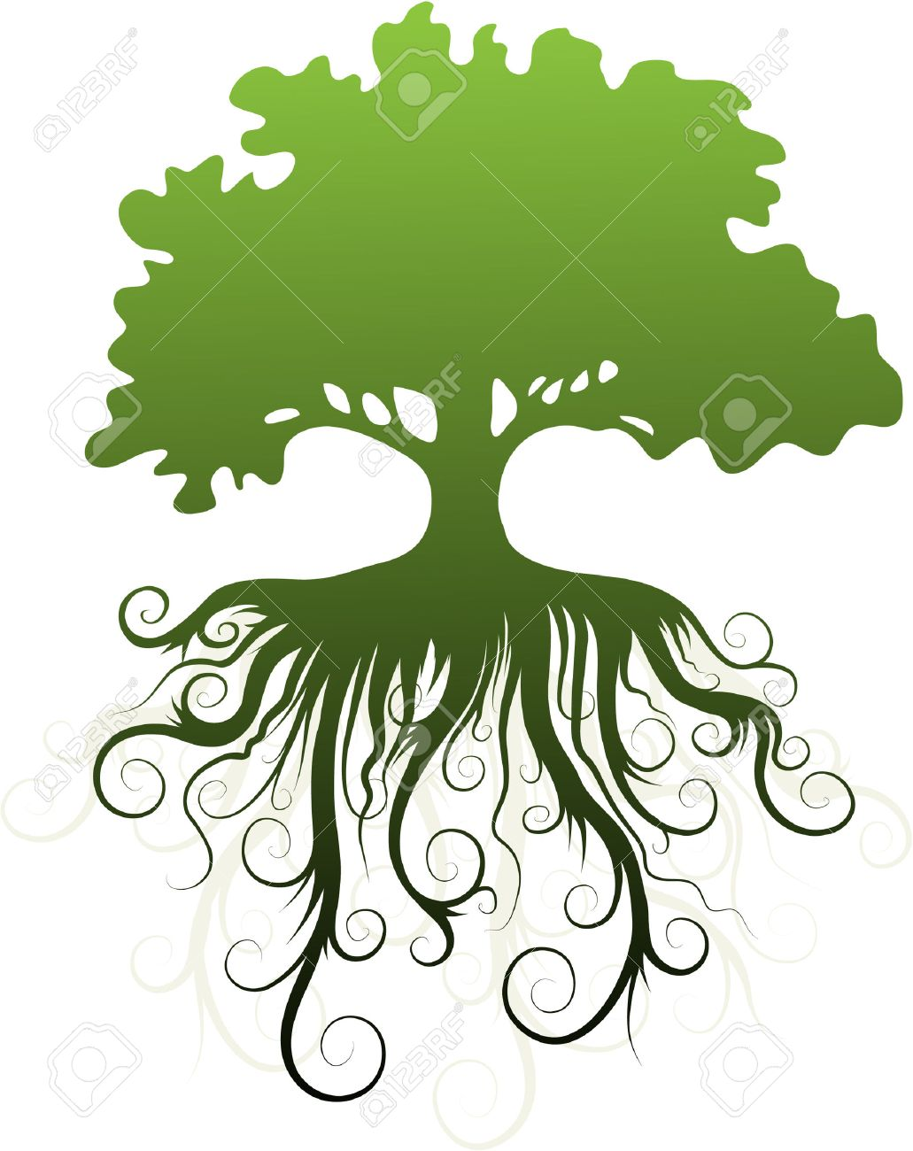 root  Silhouette of a tree  Tree With Roots Clipart Outline