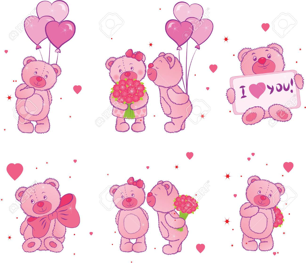 Set of teddy bears with hearts Stock Vector - 8431505