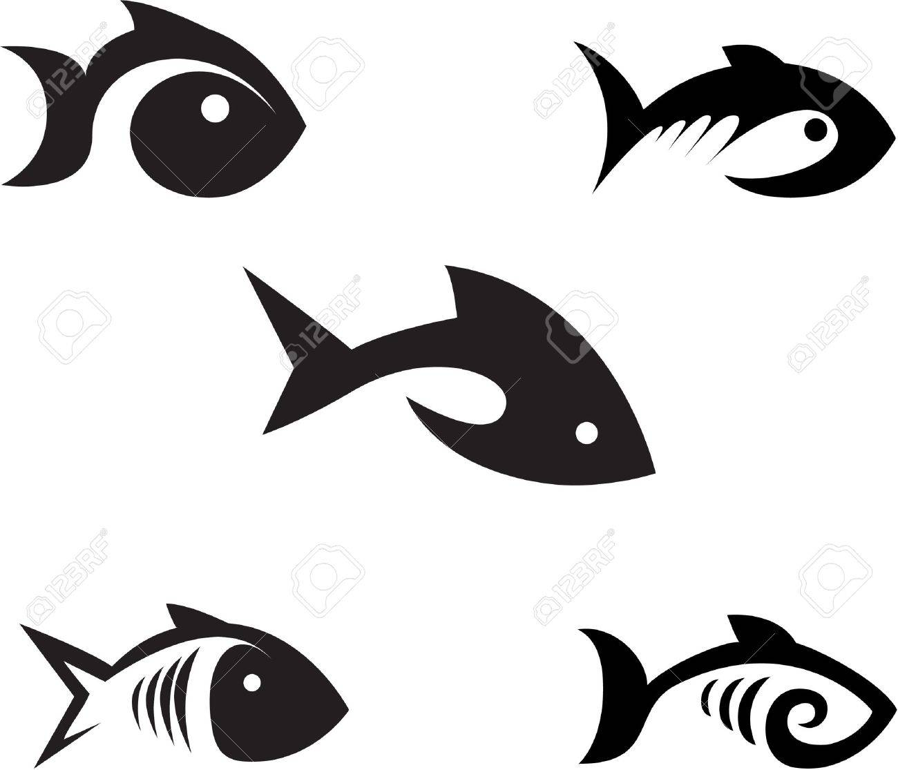 Different options of the stylized fishes on a white background Stock Vector - 12952439