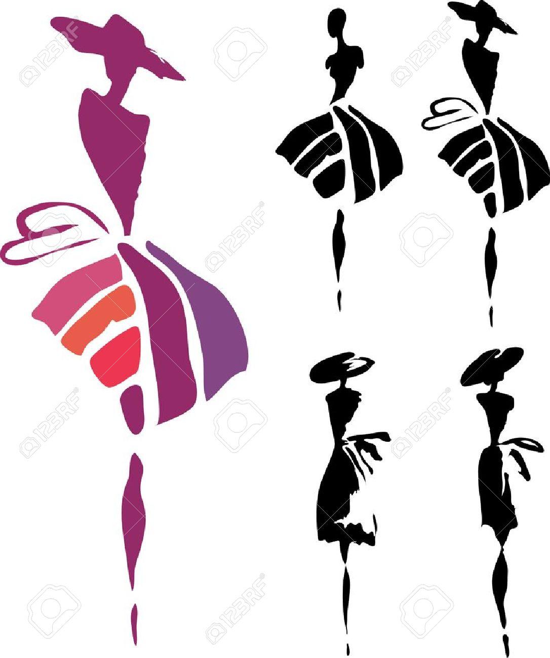 Женщины в платье силуэт