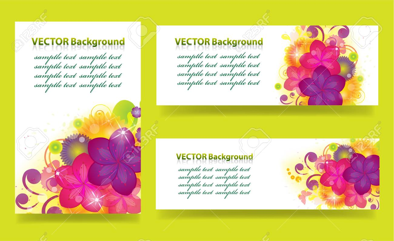 set of banners with flowers Stock Vector - 21736933