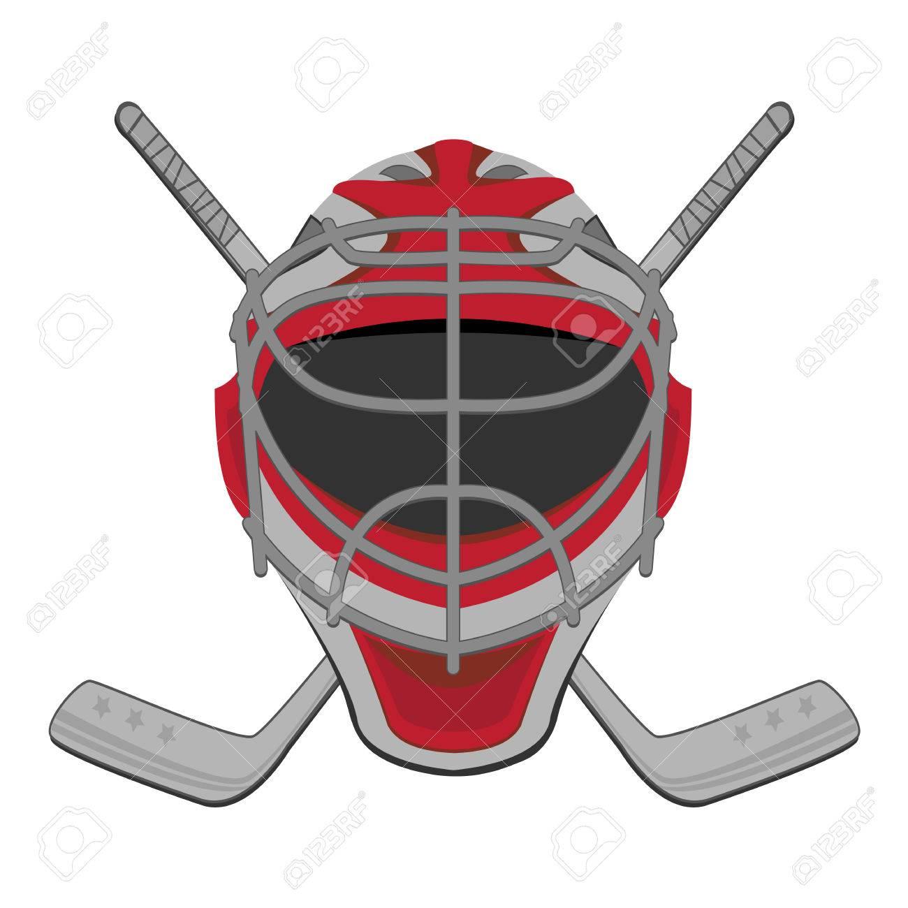 Hockey goalie ice hockey goalie mask sticks stock vector 25145732