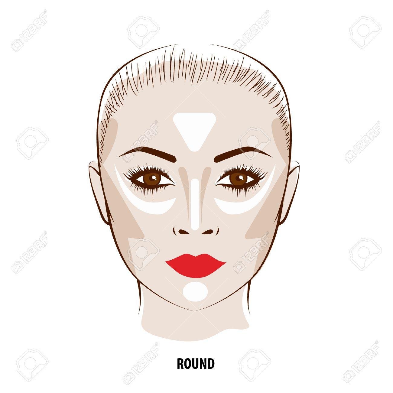 Contour and Highlight makeup. Contouring round face make-up. Fashion illustration - 57913762