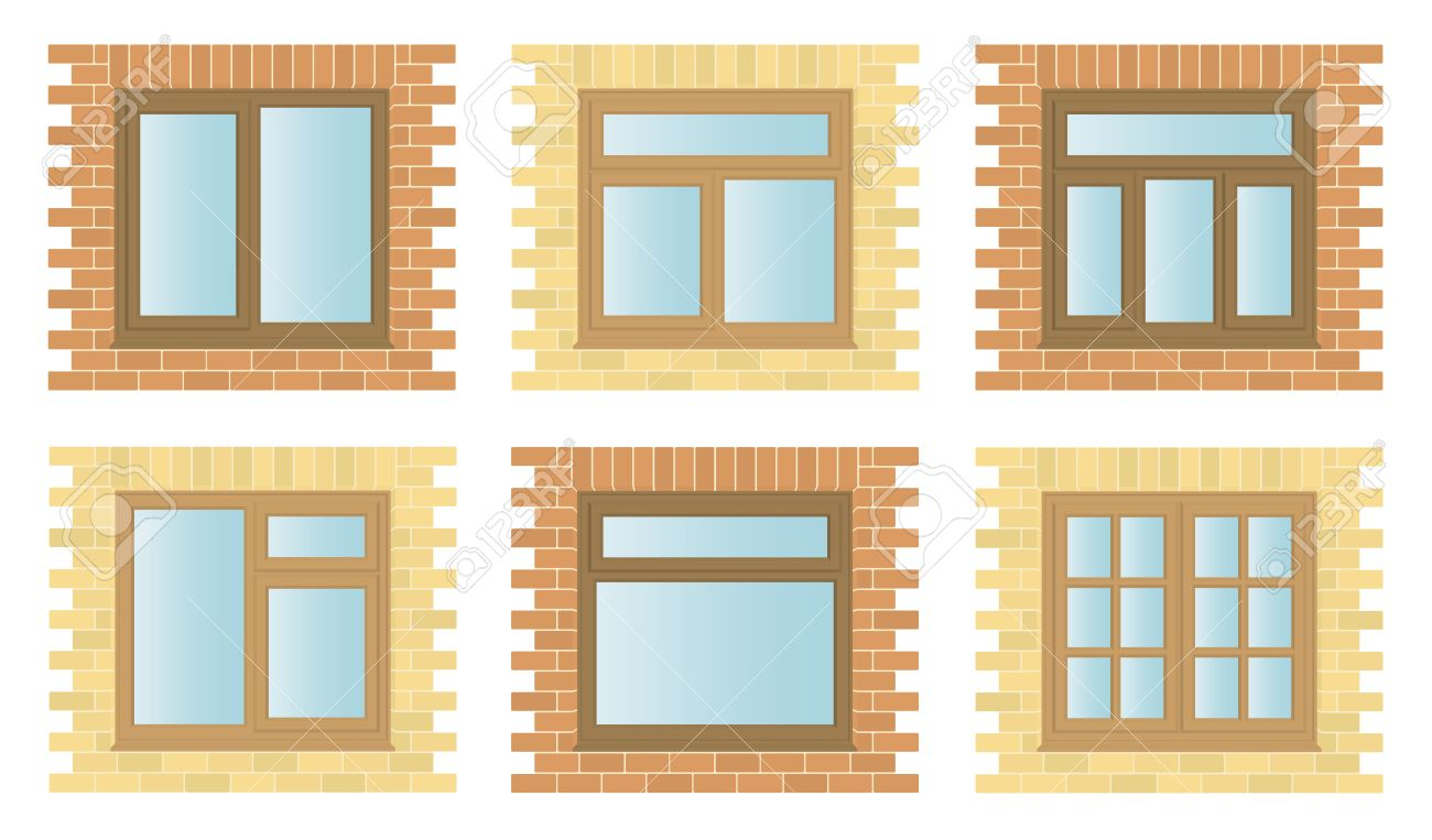 Exterior window frames - Set Exterior Wooden Windows With Brick Frames Architectural Construction Detail Illustration Stock Vector