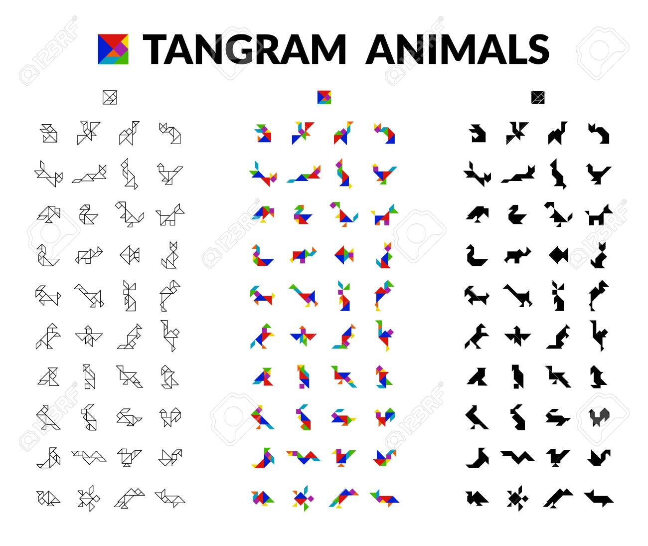 People Silhouette Tangram Card #6 | Tangram, Exercise for kids, Cards