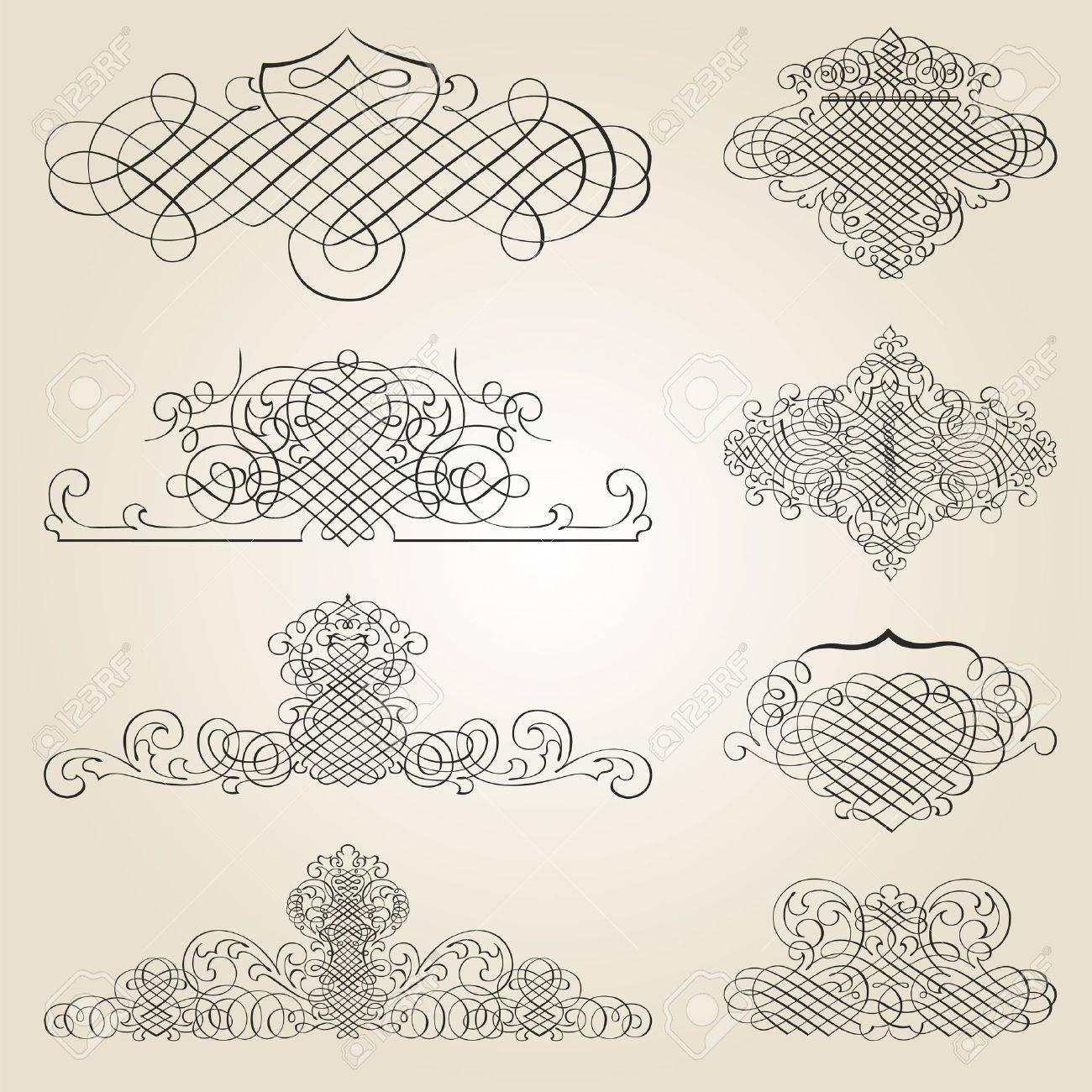 calligraphic design elements and page decoration Stock Vector - 12744674