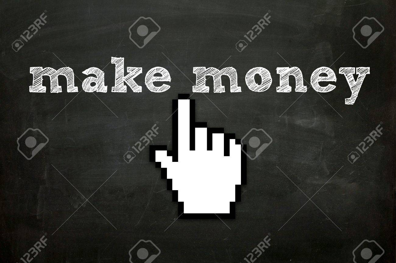 custom made hand cursor clicking  make money  text on blackboard Stock Photo - 16615807