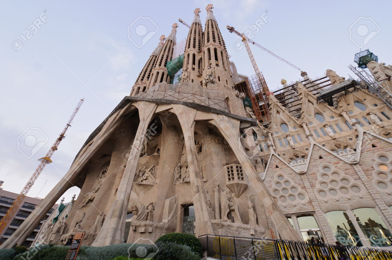 96d03f6597 Sagrada Familia cathedral external view Masterpiece of modernism architect Antoni  Gaudi Barcelona