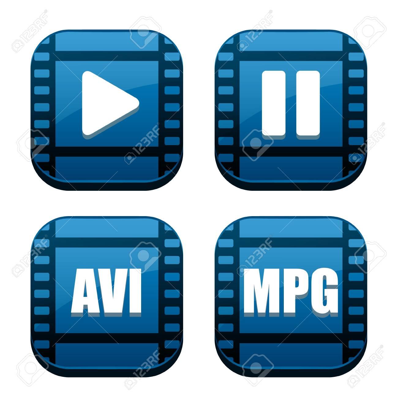 Set of four movie blue icons Stock Photo - 11809119