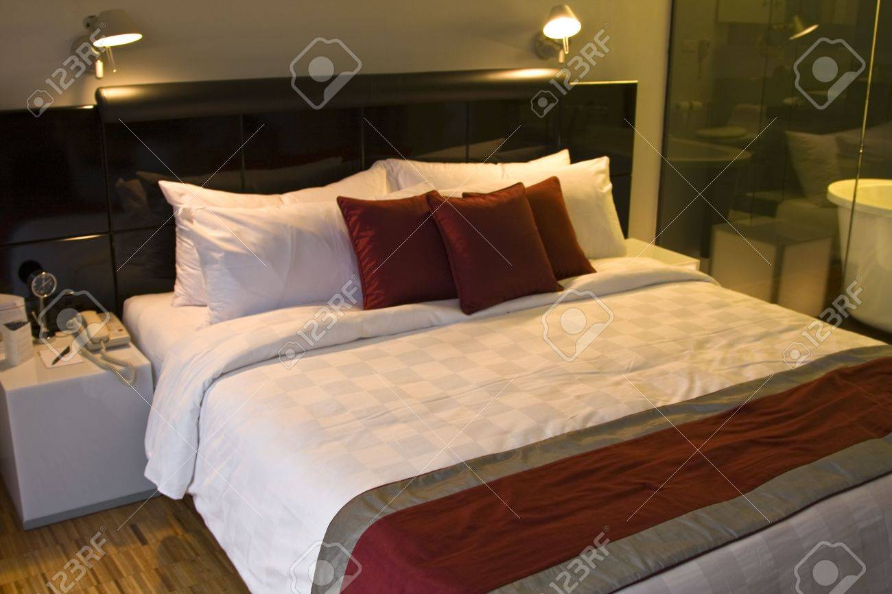 Bedroom at night time - Luxury Bedroom In A Five Star Hotel An Night Time Stock Photo 3549315