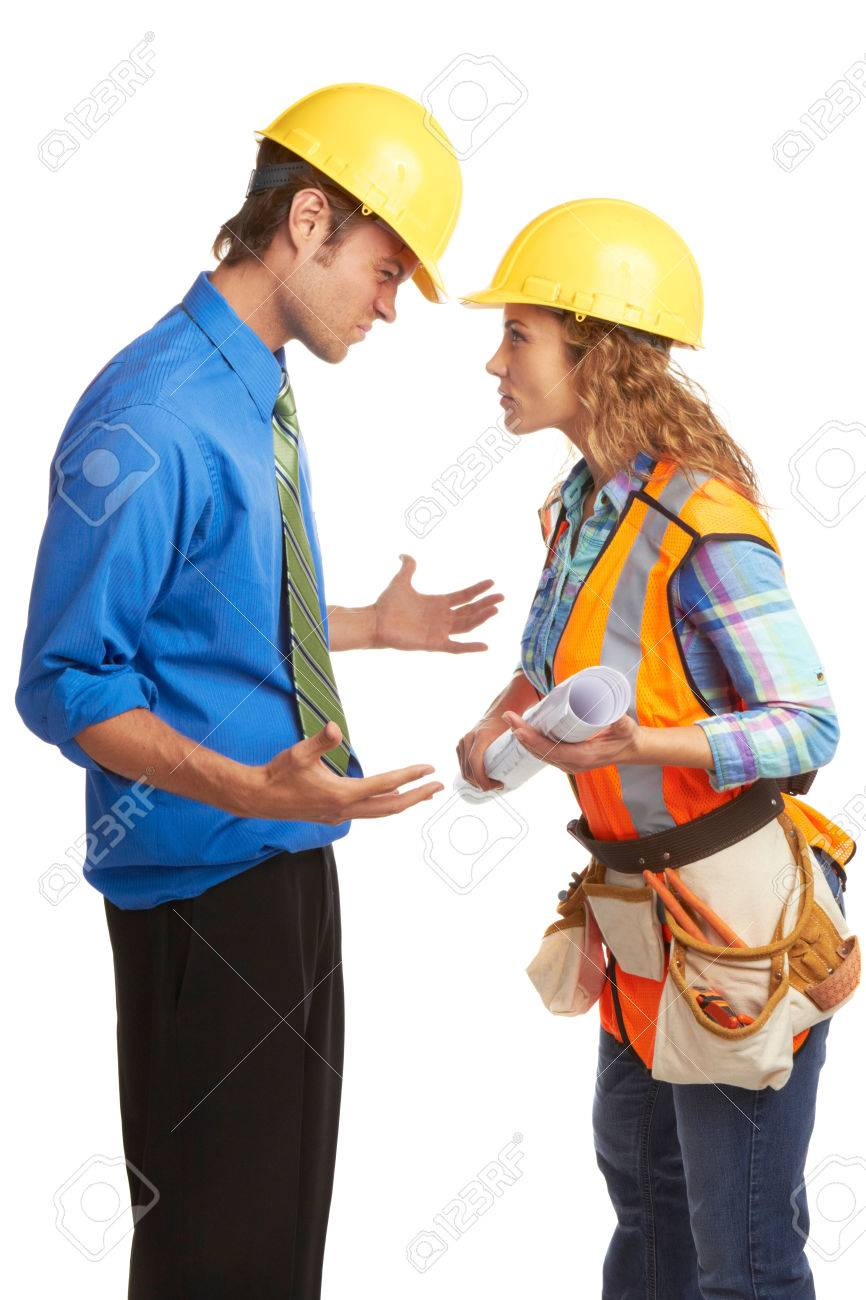 angry architect and construction worker butting heads isolated