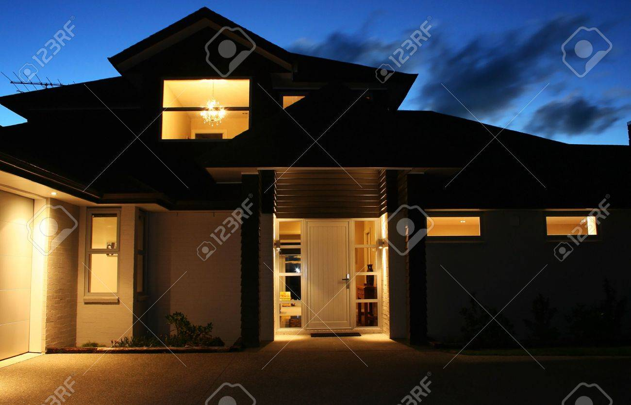 Modern House Front ntrance t Night Stock Photo, Picture nd ... - ^