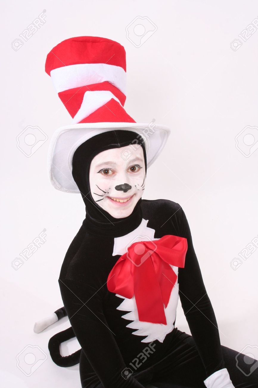 girl in cat in the hat costume  sc 1 st  123RF.com & Girl In Cat In The Hat Costume Stock Photo Picture And Royalty Free ...