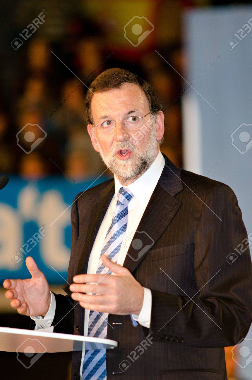 L�Hospitalet, Spain - November 16: Mariano Rajoy, president of spanish People's Party and running for president, at a meeting  during the 2011 election campaign on 16/11/2011 in L'Hospitalet, Spain Stock Photo - 11229928