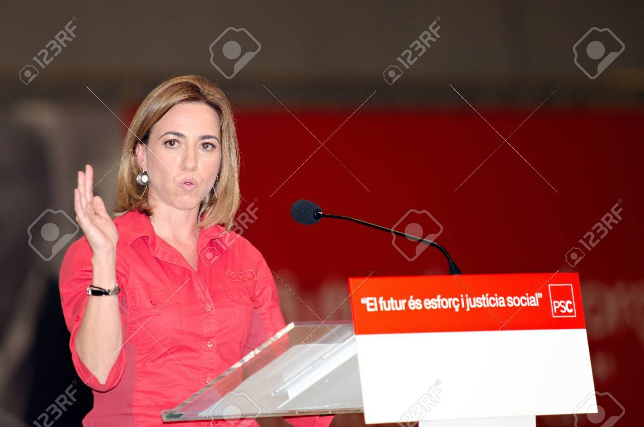 BARCELONA, SPAIN - NOVEMBER 17: Carme Chacon (PSC), Minister of Defense and holding a speech at a meeting during the 2011 election campaign in Barcelona, Spain on 17/11/2011 Stock Photo - 11240956