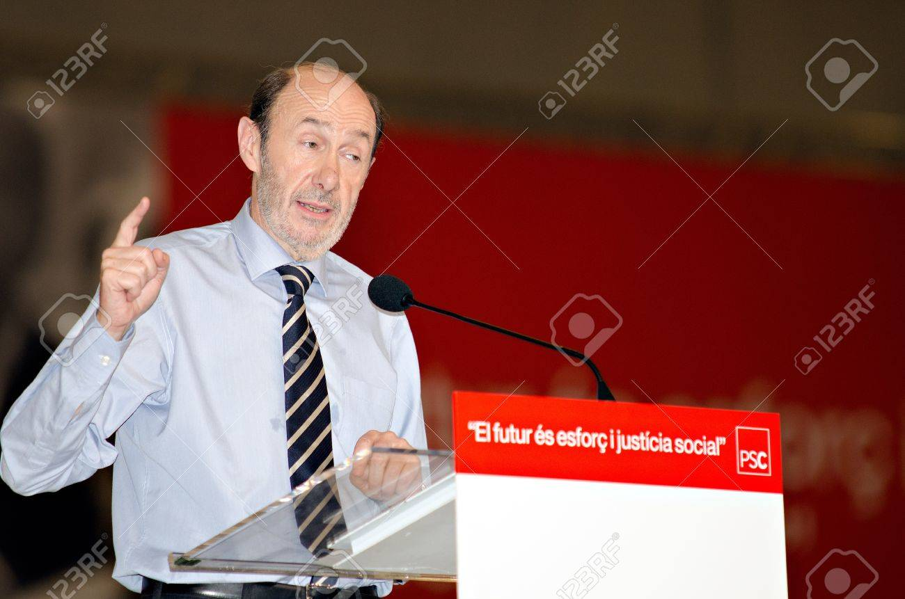BARCELONA, SPAIN - NOVEMBER 17: Alfredo P�rez Rubalcaba (PSOE), Minister of the Interior and running for president, at a meeting during the 2011 election campaign in Barcelona, Spain  on 17/11/2011 Stock Photo - 11240960