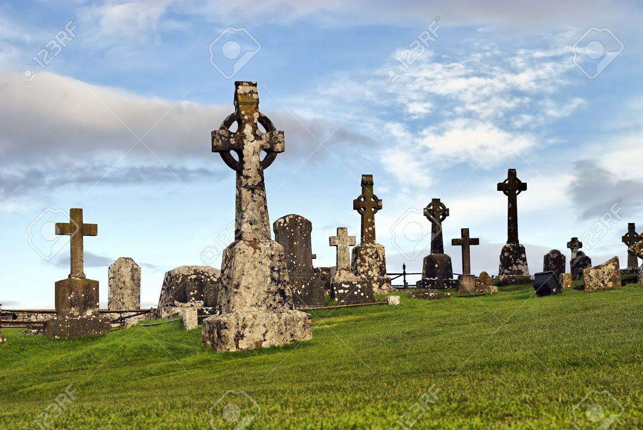 Rock of Cashel, Ireland - celtic crosses at graveyard - 11651899