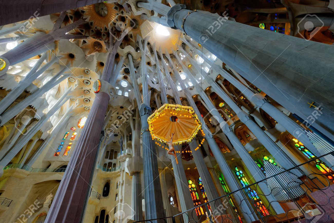 Interior Of La Sagrada Familia Basilica Designed By Antoni Stock