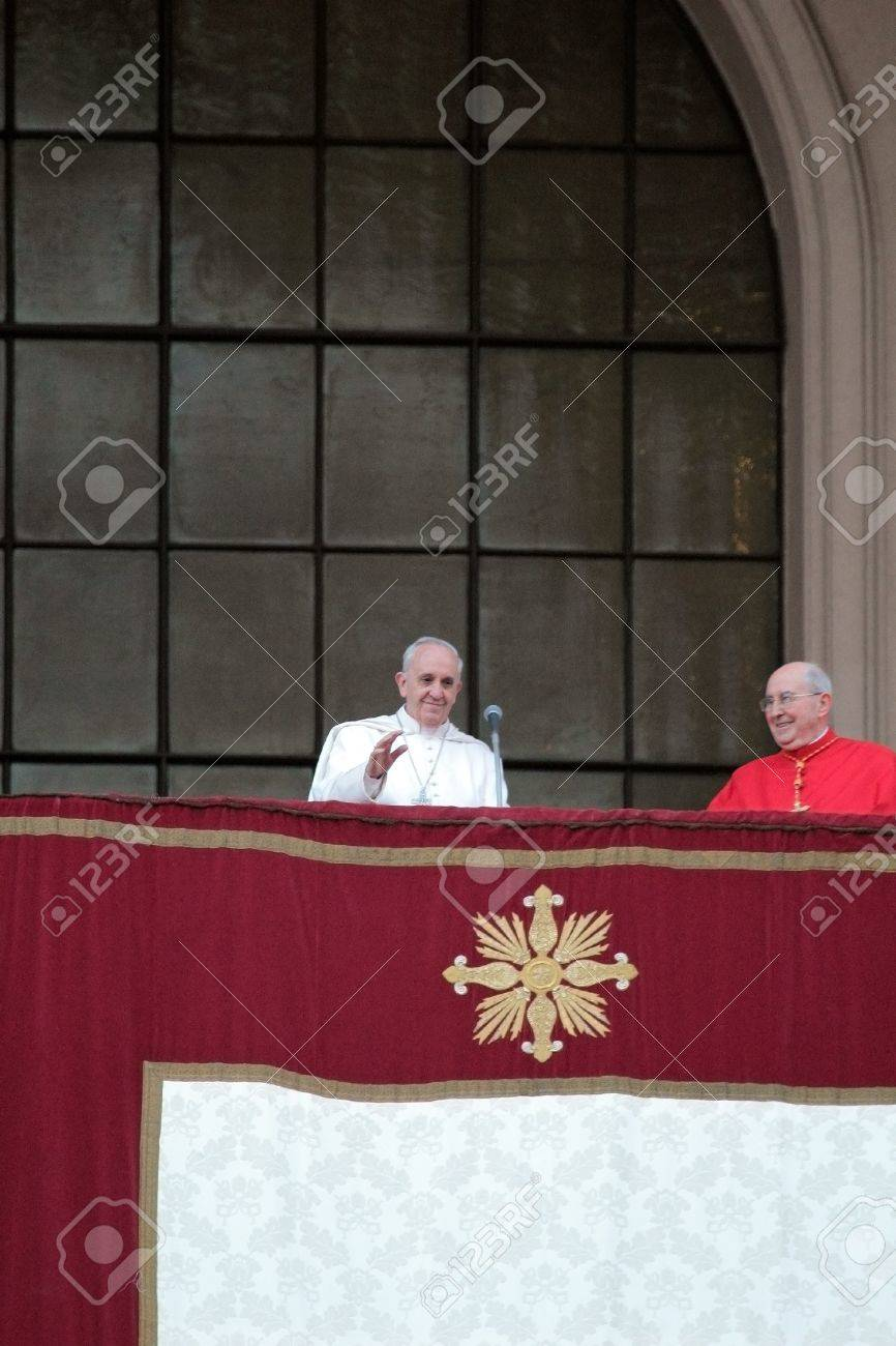 ROME, ITALY - April 07: Pope Francis I during the settlement ceremony in Archbasilica of St. John Lateran. After the mass the Pope appeared at the central chapel. Stock Photo - 18900170