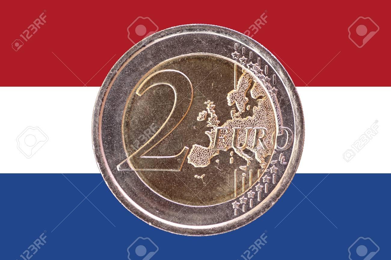 Gemeinsame Gesicht 2 Münze Isoliert Auf Der Nationalflagge Von