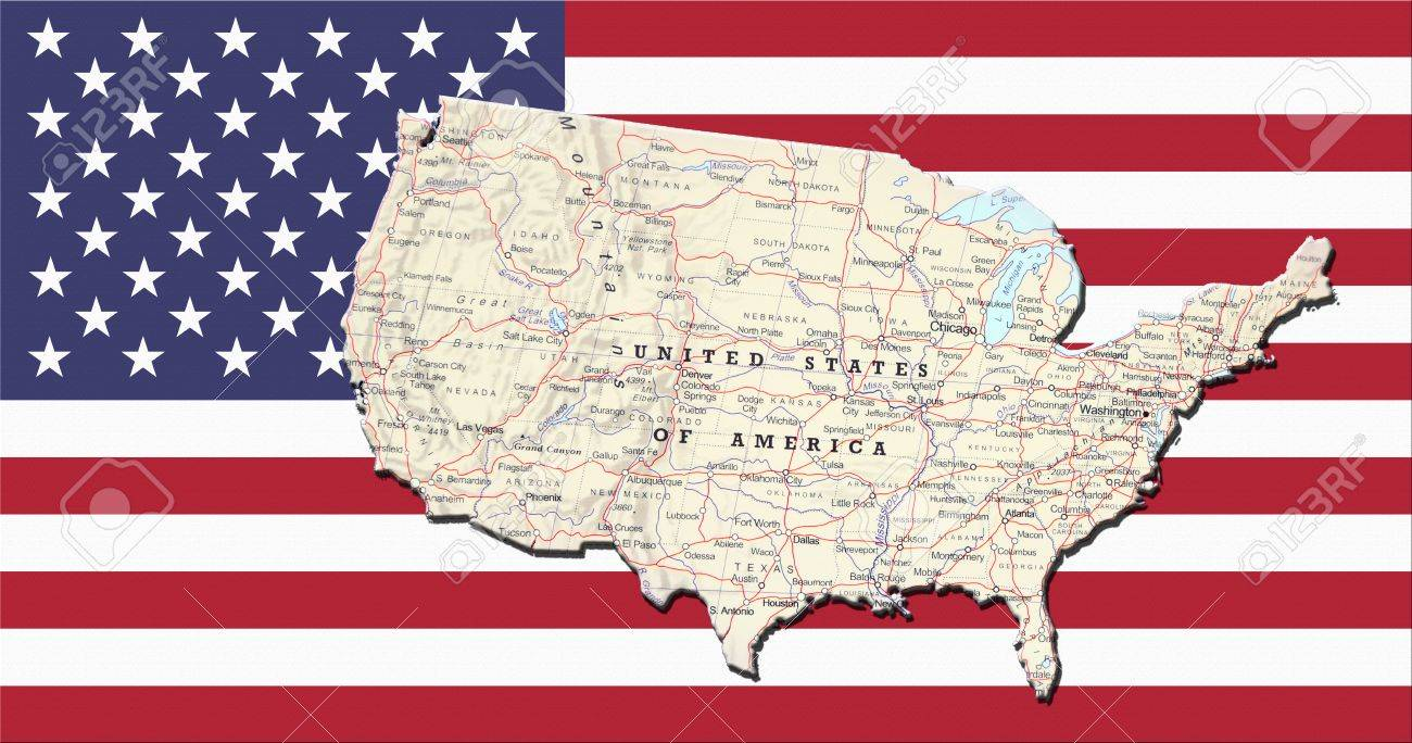Geographical Map Of United States.Geographical Map Of United States Of America With The Usa Flag