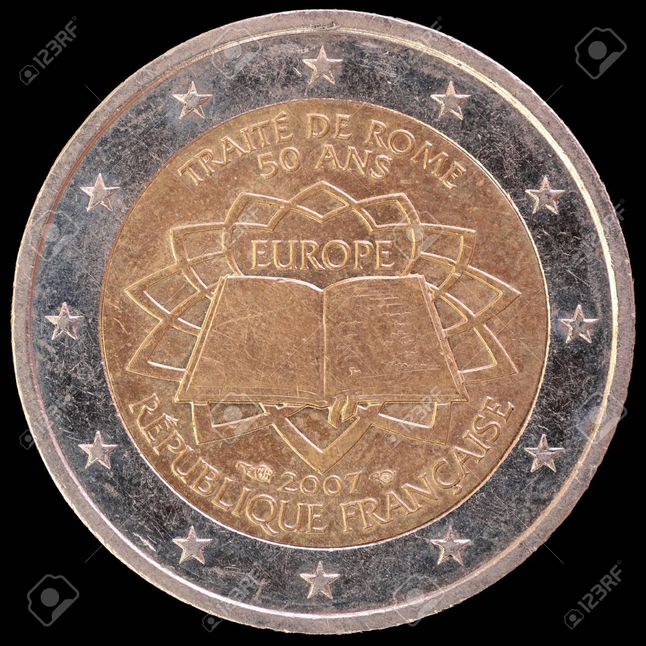 Eine Gedenkmünze In Umlauf Gebracht Zwei Euro Münze Von Frankreich
