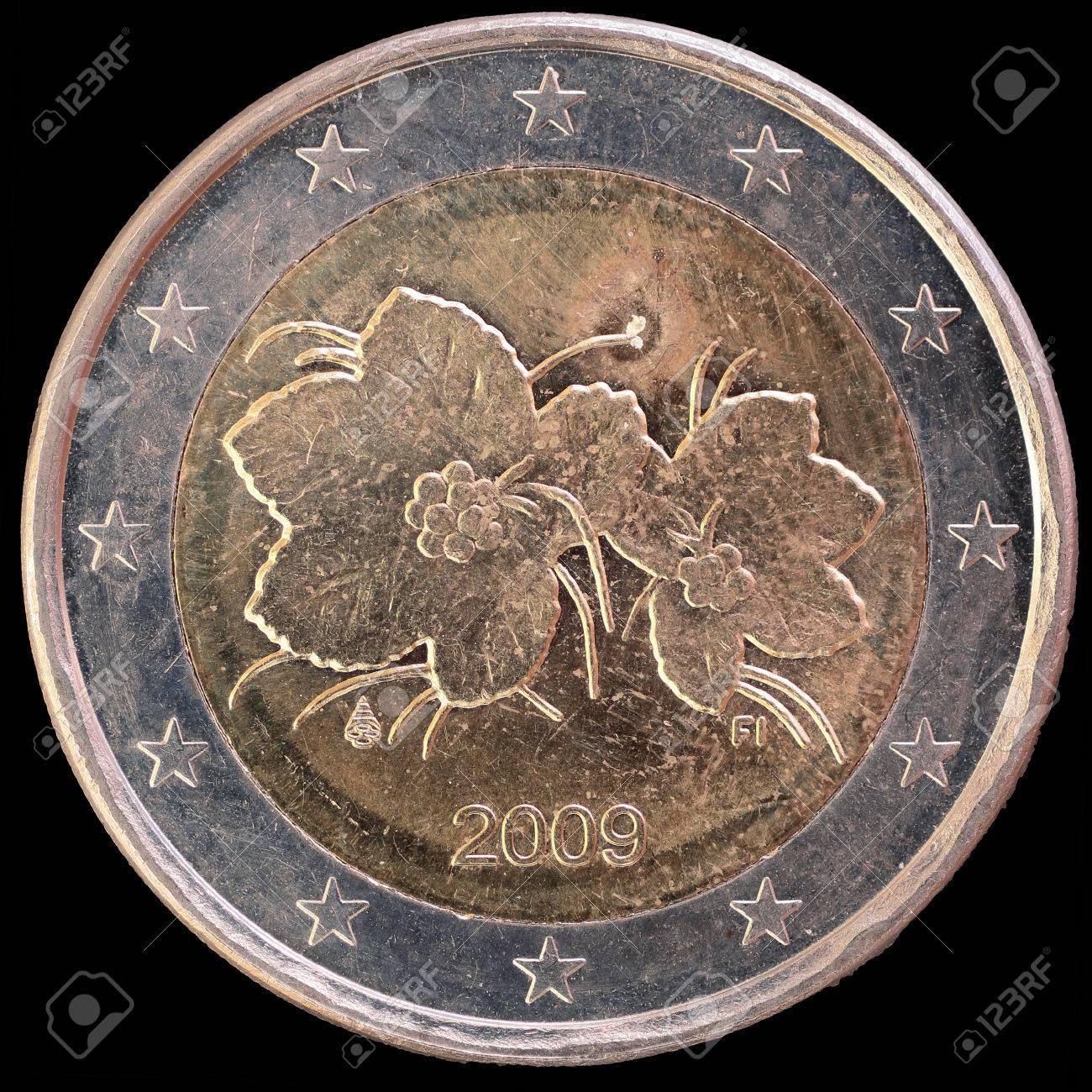 Nationale Seite Von Zwei Euro Münze Von Finnland Ausgestellt