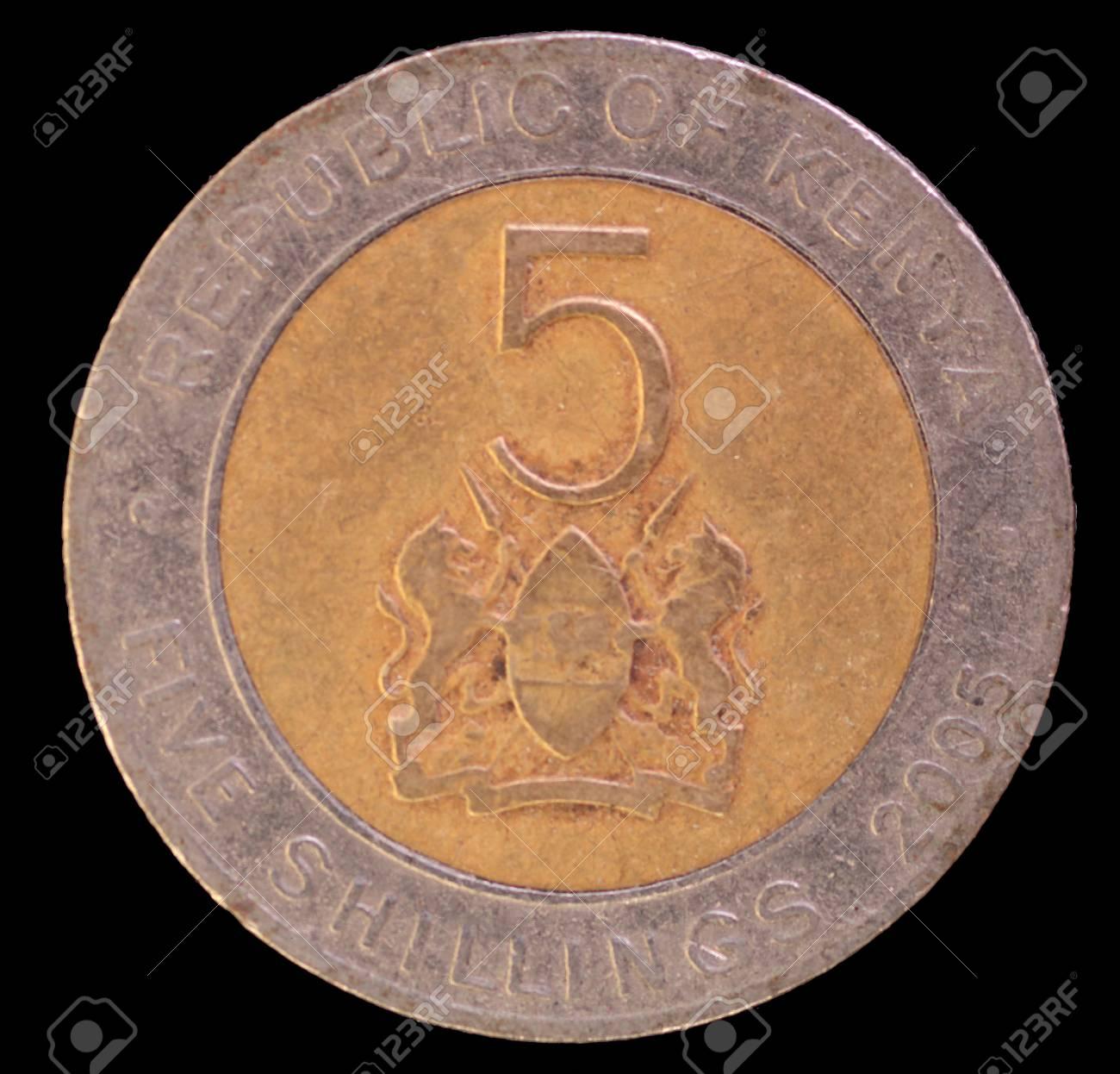 Der Schwanz Gesicht Von 5 Schilling Münze Im Jahr 2005 Von Kenia
