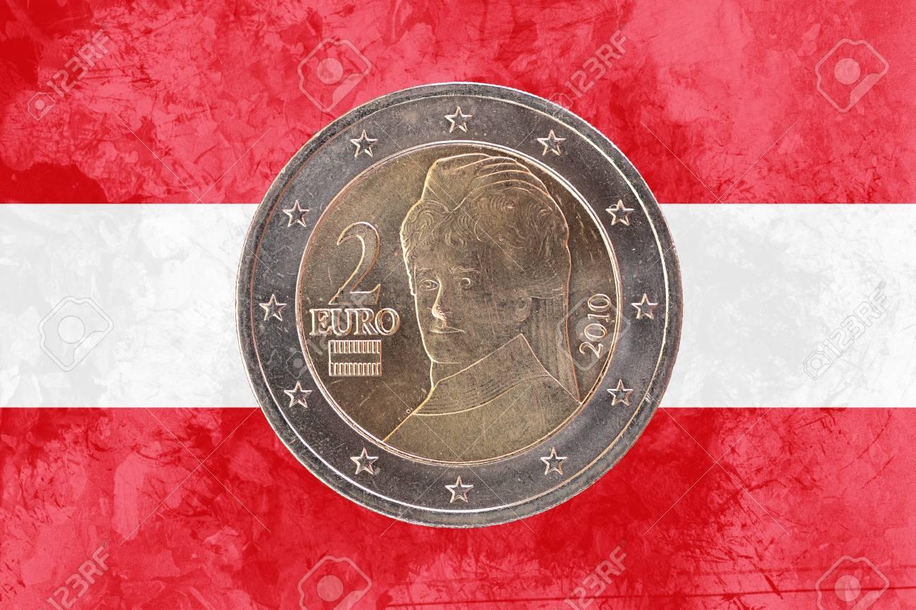 Zwei Euro Münze Aus österreich Isoliert Auf Den Nationalen
