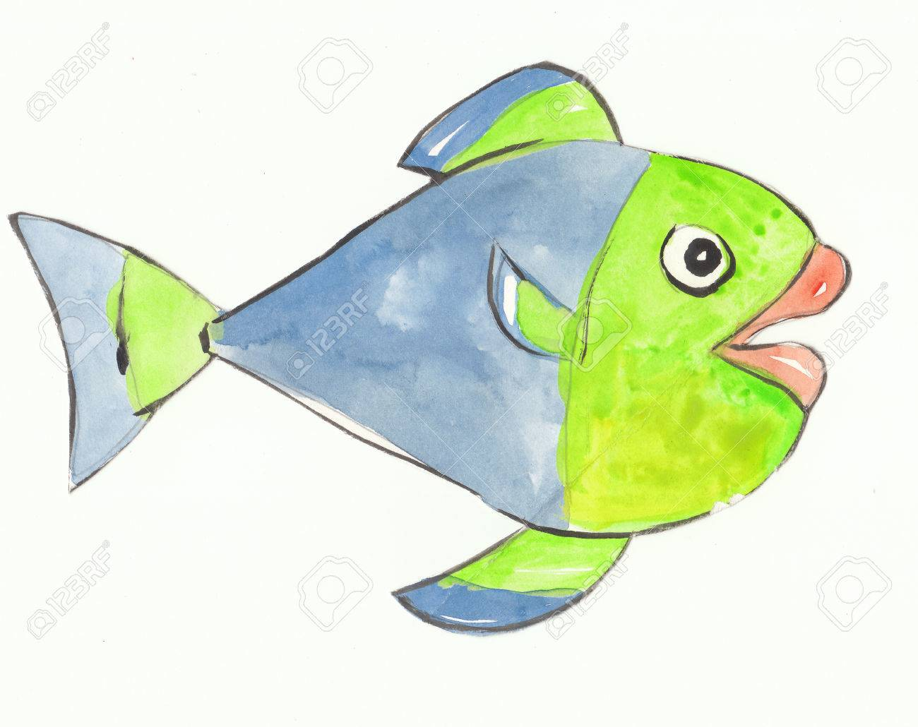 Colorful Fish With Blue And Green Color Is Happy Stock Photo ...