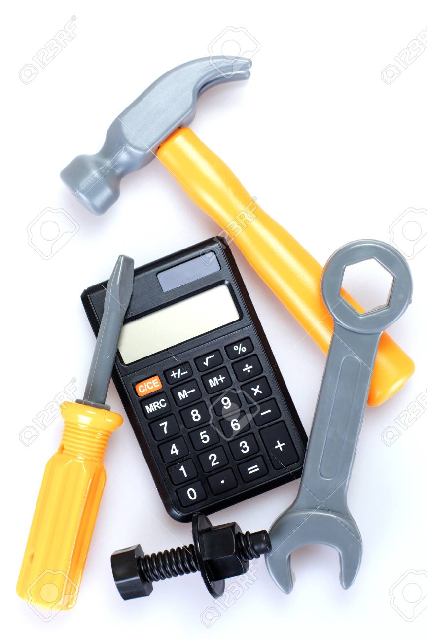 Cost of home repairs, DIY or renovation with a calculator surrounded