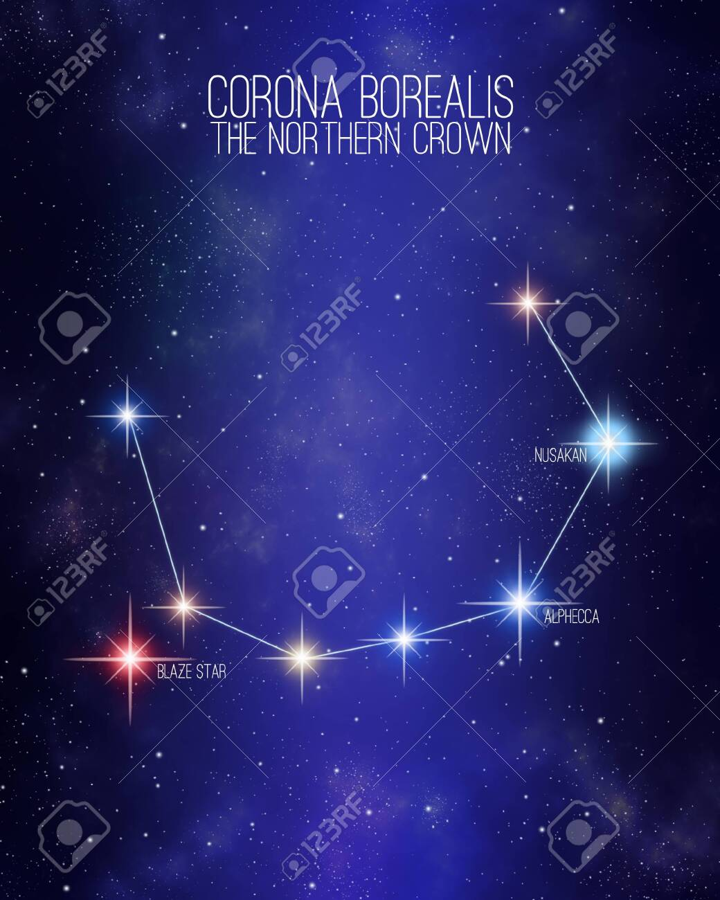 Corona Borealis The Northern Crown Constellation On A Starry Stock Photo Picture And Royalty Free Image Image 121849898