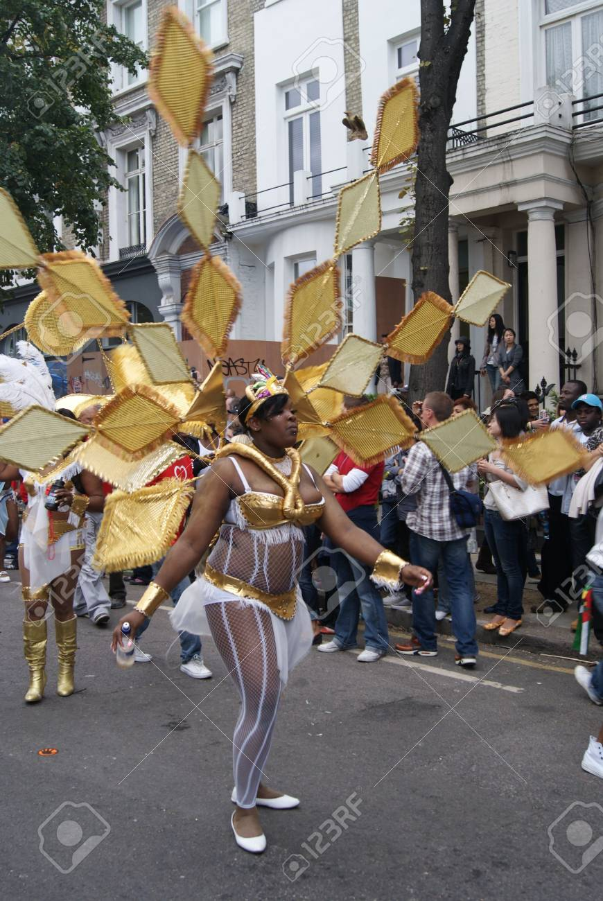 London, England - 30 August 2010 - Woman in costume taking part in the parade at the Notting Hill Carnival Stock Photo - 7839994