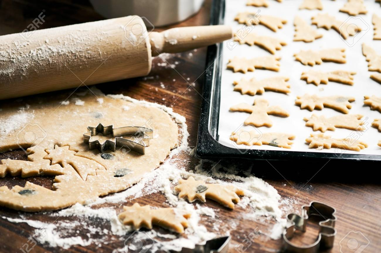 Baking Christmas Cookies Cookie Dough Rolling Pin Cookie
